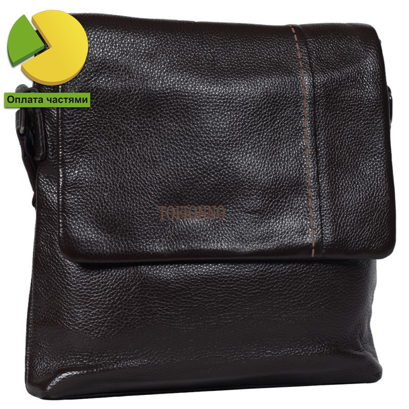fc320e2a474c Мужская кожаная сумка с плечевым ремнем коричневая Tofionno TF00619 ...