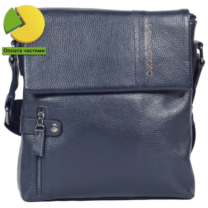 Мужская кожаная сумка мессенджер через плечо синяя Tofionno TF00619-30
