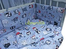 """Детское постельное бельё (8 предметов) """"Совята"""" серое"""