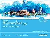 Склейка для акварели 42*56 см 200г 15л 25% хлопка W2004256K15 GAMMA Watercolour Fabriano