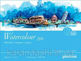 Склейка для акварели 24*32 см 200г 15л 25% хлопка W2002432K15 GAMMA Watercolour Fabriano