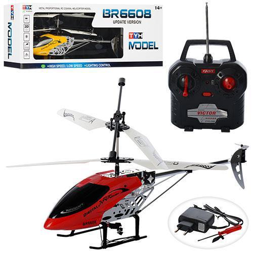 Вертолет на радиоуправлении BR6608 гироскоп 43 см, свет, 2цвета, в кор-ке, 67-22, 5-10, 5см
