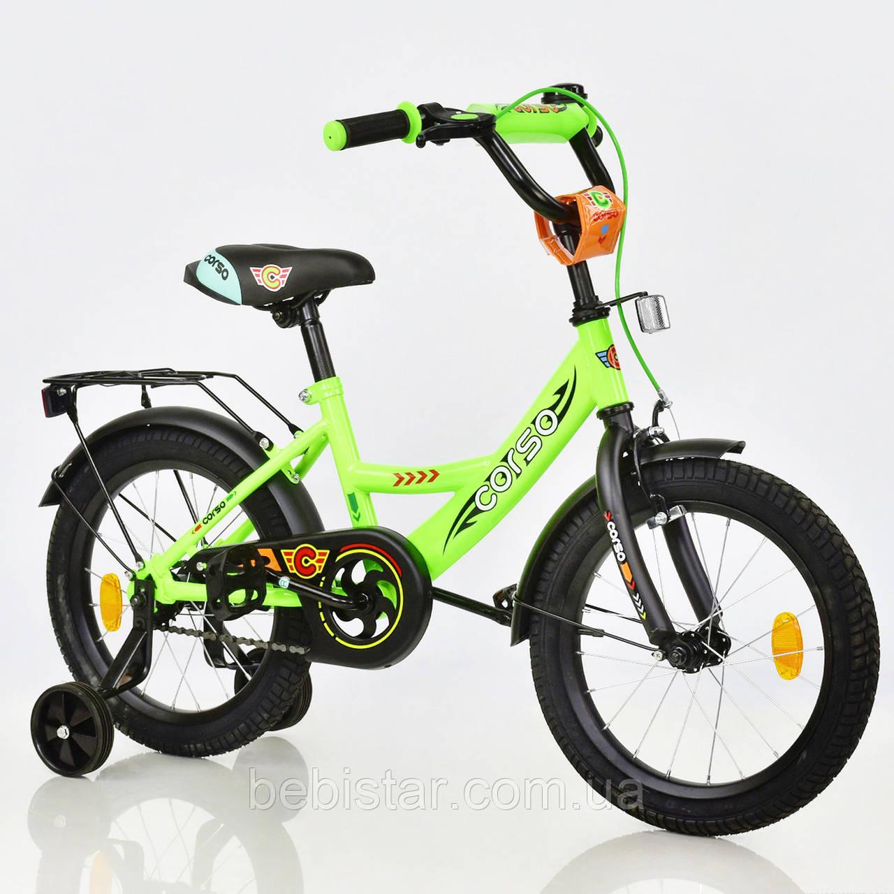 """Двухколесный велосипед Corso 16"""" детям 5-6 лет цвет салатовый"""