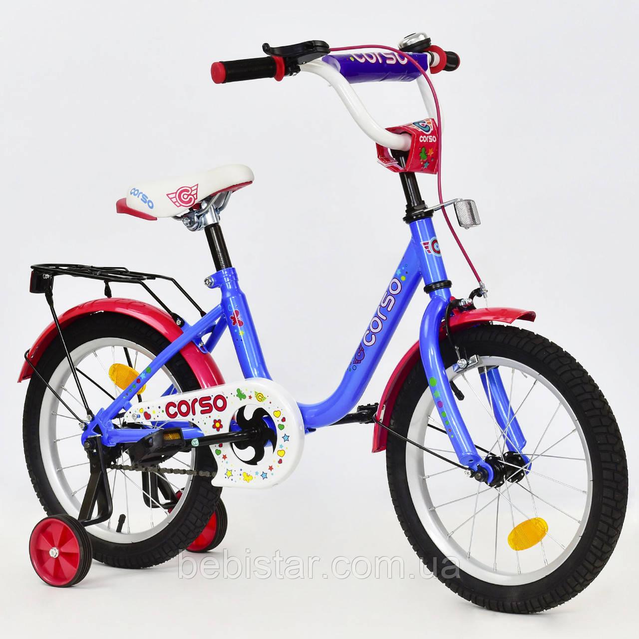 """Двухколесный велосипед Corso 16"""" детям 4-6 лет цвет голубой"""
