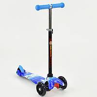 Самокат детский трехколесный со светящимися колесами голубой на черных колесах от 2 до 5 лет