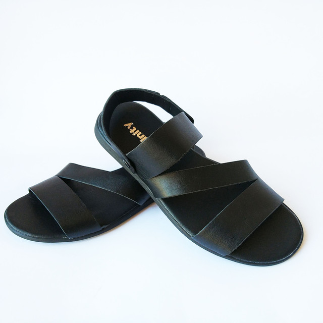 Летние мужские кожаные сандалии шлепанци , черного цвета от качественного украинского производителя фабрики Affinity Харьков