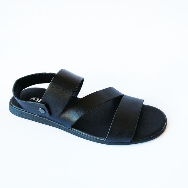 Летние мужские кожаные сандалии, черного цвета от украинского производителя фабрики Affinity Харьков