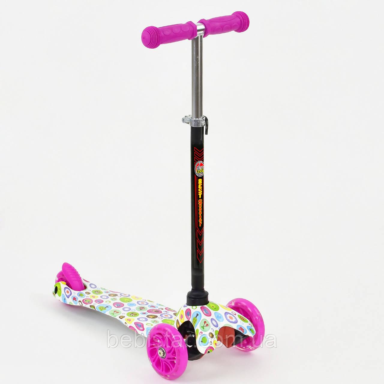Самокат детский трехколесный со светящимися розовыми колесами белый от 2 до 5 лет