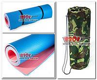 """Каремат (коврик туристический) """"Tourist 8"""" (цвет - красно-синий) с двумя резинками и чехлом"""