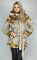 Короткая леопардовая шубка с капюшоном