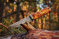 Нож охотничий из дамасской стали Викинг 2, ручная работа, с кожаным чехлом в комплекте