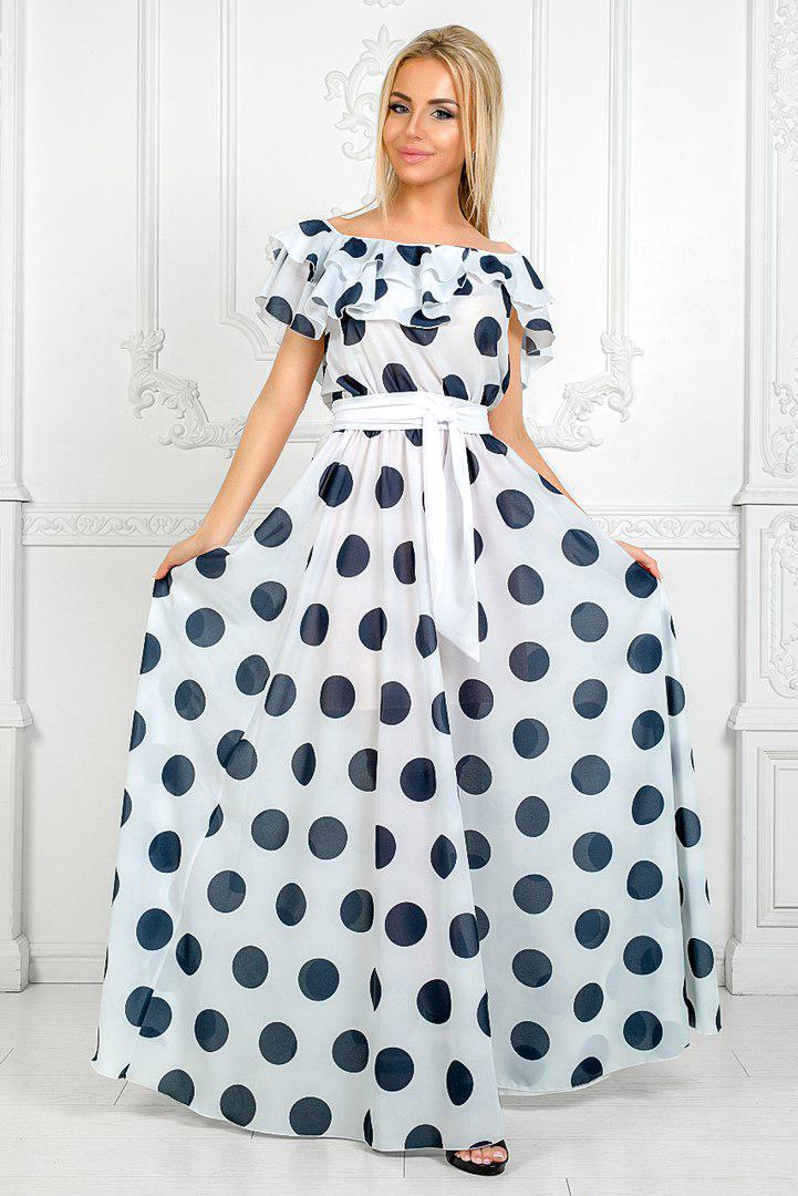 Нарядное летнее платье из шифона в горох - Интернет-магазин
