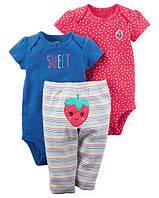 Детскийкомплект из трех вещей для маленькой модницы, боди, штаники Carter's