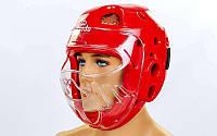 Шлем для тхэквондо с пластиковой маской  DAEDO (красный, р-р S, M, L)