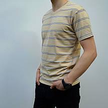Мужская футболка в полоску, размеры:46-56, премиум качество, 100% хлопок, с V-образным вырезом - бежевая, фото 3
