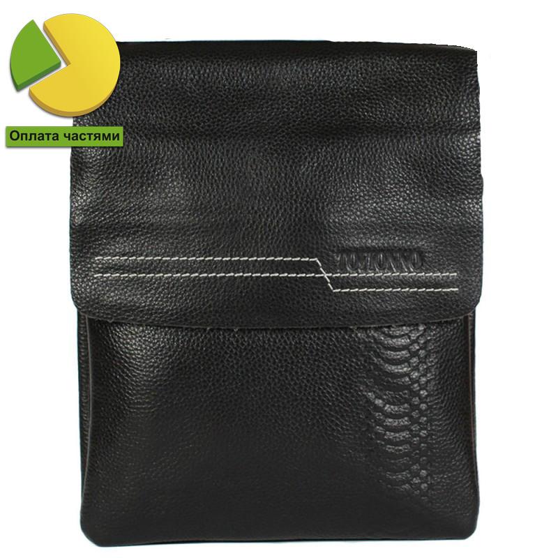 Мужская кожаная сумка черная с белой строчкой Tofionno TF0006208P-21