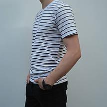 Мужская футболка в полоску, размеры:46-56, премиум качество, 100% хлопок, с V-образным вырезом - белая, фото 3