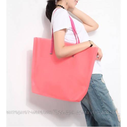 077abdec4664 Силиконовая пляжная сумка женская (Коралловый) 45 * 35 * 12 см - интернет-