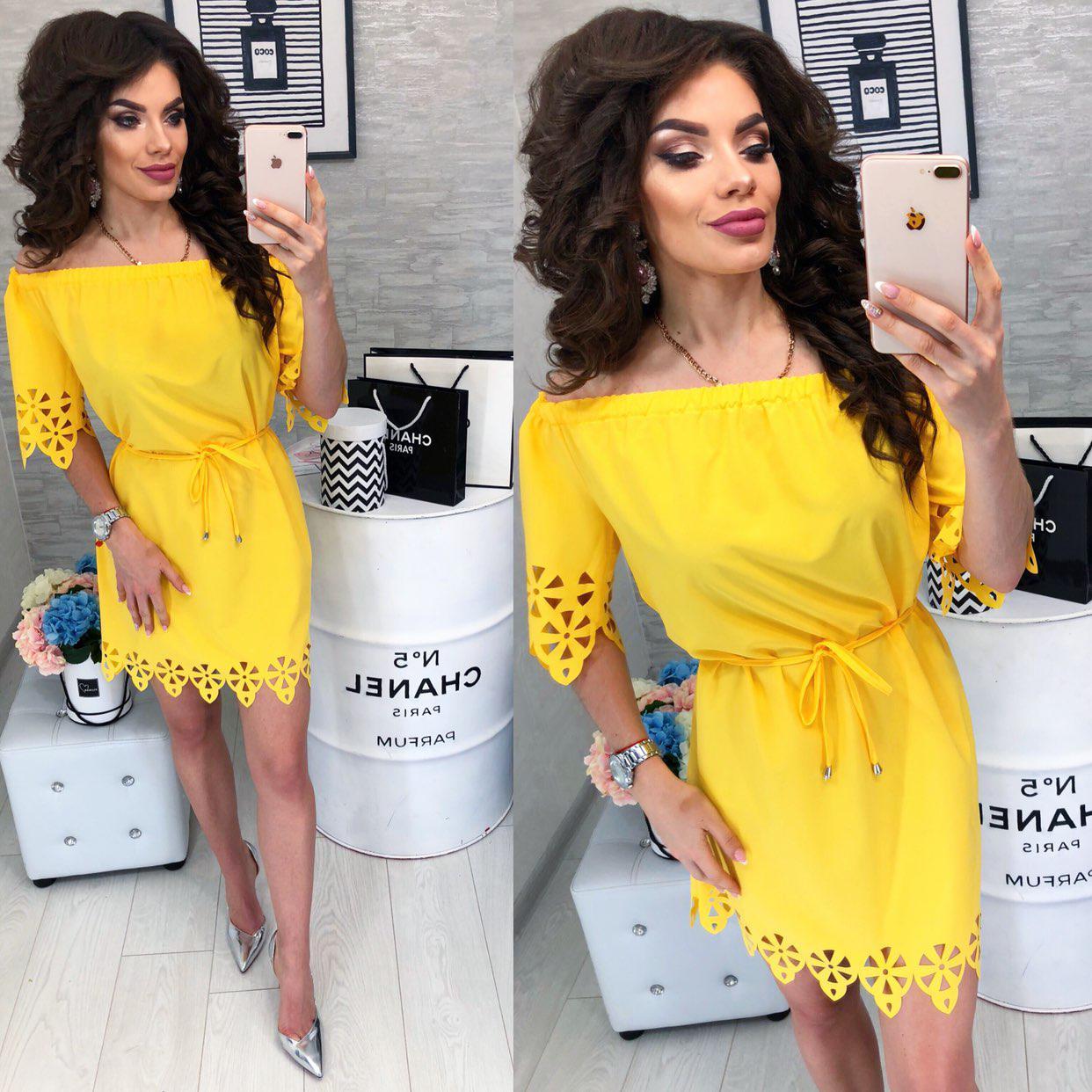 Платье с выбитым рисунком ( арт. 105 ), ткань супер софт, цвет желтый
