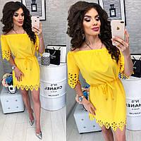 Платье с выбитым рисунком ( арт. 105 ), ткань супер софт, цвет желтый, фото 1
