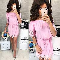 Платье с выбитым рисунком ( арт. 105 ), ткань супер софт, цвет розовый