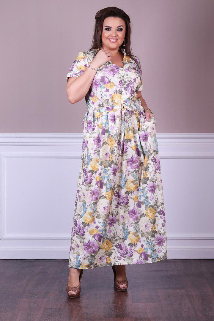 5065e05bd13 Длинное летнее платье-рубашка в цветочек