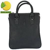 6c5caf0f4f40 Стильная кожаная сумка для документов под рептилию серо-синего цвета  Tofionno TF008801-121