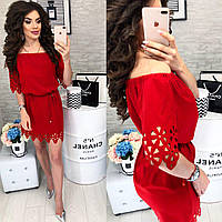 Платье с выбитым рисунком ( арт. 105 ), ткань супер софт, цвет красный, фото 1