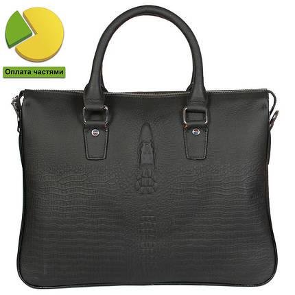 6c22806a6f5c Стильная кожаная сумка для ноутбука и документов формата а4 под рептилию  черная, фото 2
