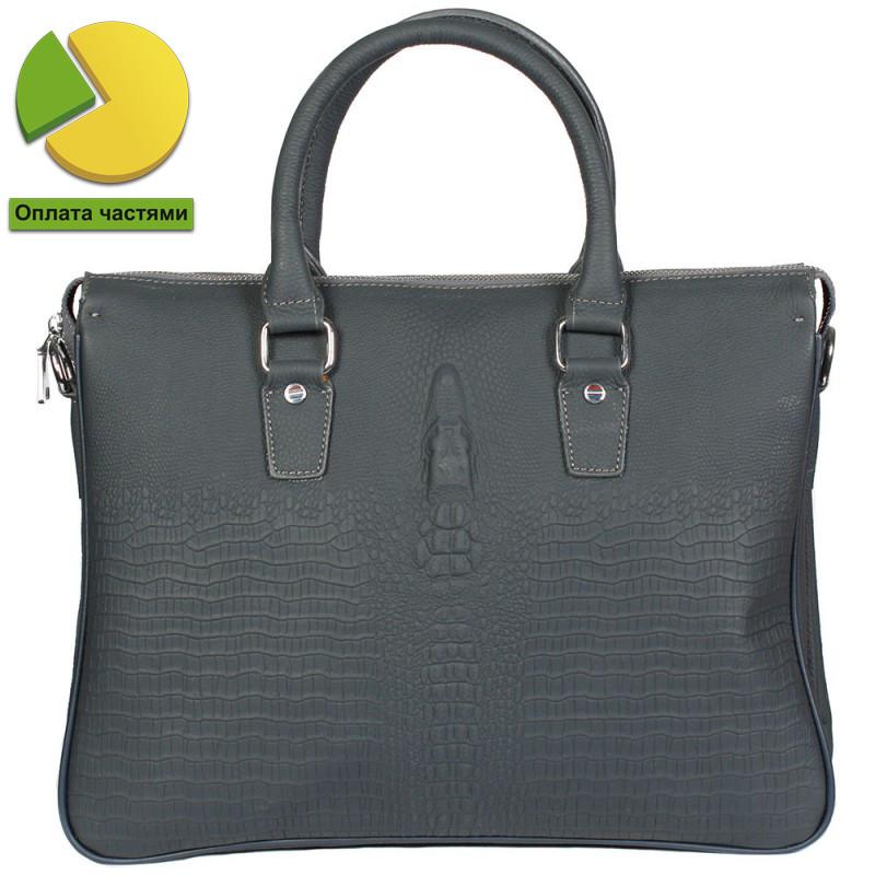 Стильная кожаная сумка для ноутбука и документов формата а4 под рептил