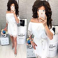 Платье с выбитым рисунком ( арт. 105 ), ткань супер софт, цвет белый