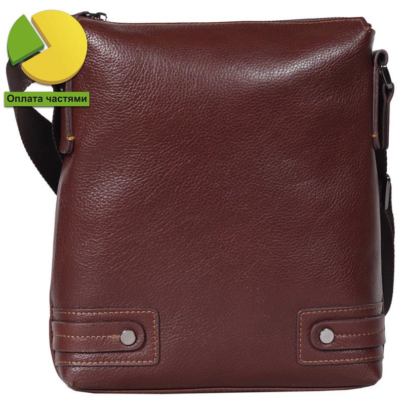 038b52326a97 Удобная мужская кожаная сумка-планшетка через плечо коричневая Tofionno  TF003301741