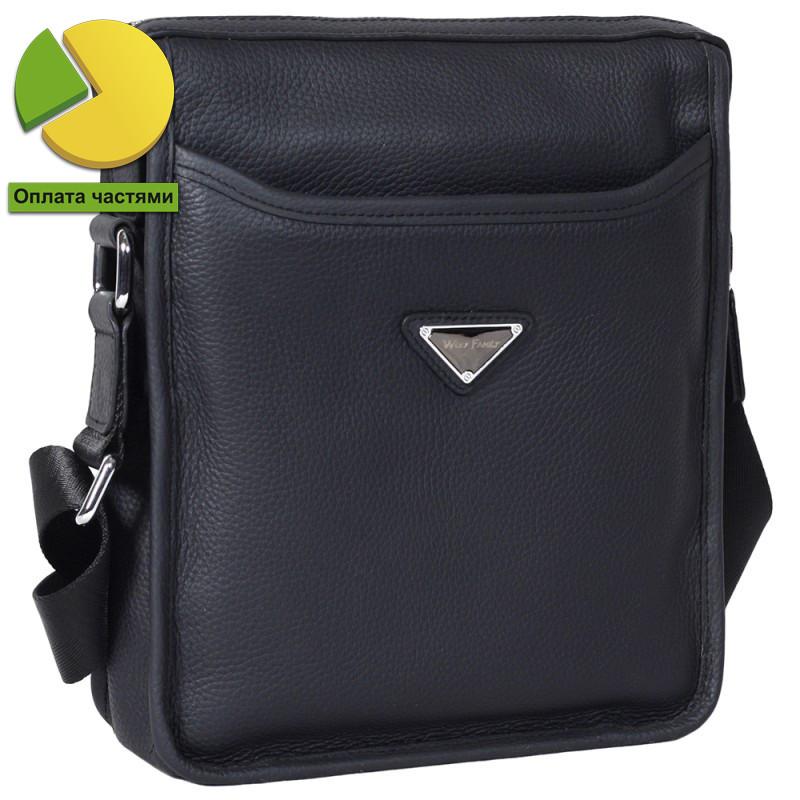 Изящная мужская кожаная сумка через плечо синяя Wolf Family WF00017-31