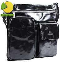 9bda626486a8 АксМаркет. г. Киев. Эксклюзивная мужская кожаная сумка через плечо  лакированная черная (Италия) Lare Boss LB0083512-2051