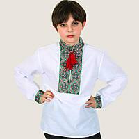 Вышитая рубашка для мальчика Тимофей с зеленым орнаментом, фото 1