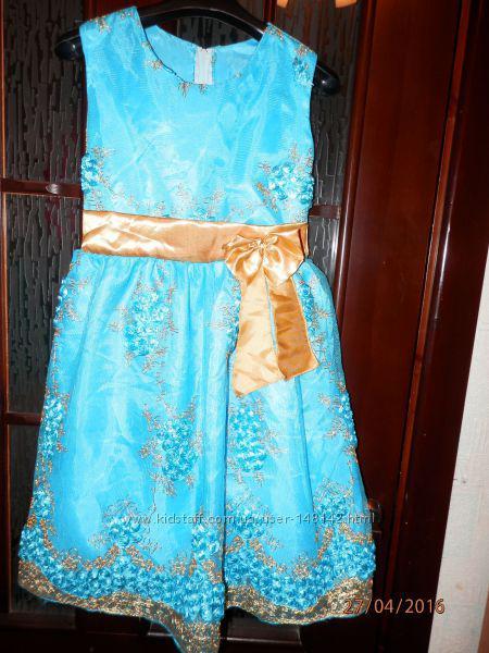 Нарядное голубое платье с золотистым поясом для принцесс (США)