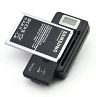 Зарядний 'жабка' для акумуляторів Li-Ion 5V1.25A на смартфони з LCD екраном і USB з перехідником US-EU чорне, фото 1