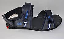 Мужские кожаные сандали великаны, синие с серыми вставками на липучках
