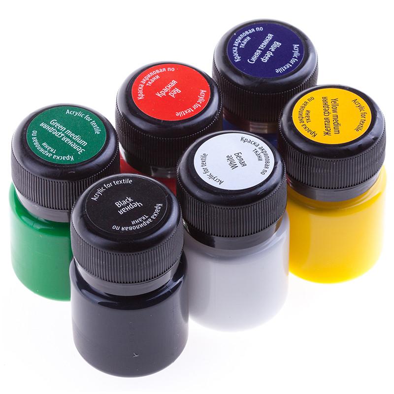Краски Декола Decola для ткани набор 6 штук,акриловые краски по ткани