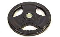 Блины (диски) обрезиненные с тройным хватом и металлической втулкой d-52мм  15кг (чер)
