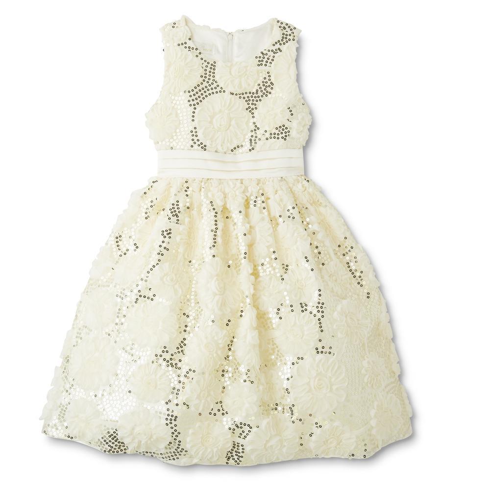 Нарядное очень нежное молочное платье (Размер 8Т)  American Princess (США) С  пышными нижними  юбками!