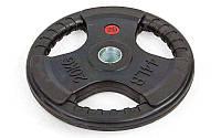 Блины (диски) обрезиненные с тройным хватом и металлической втулкой d-52мм  20кг (чер)