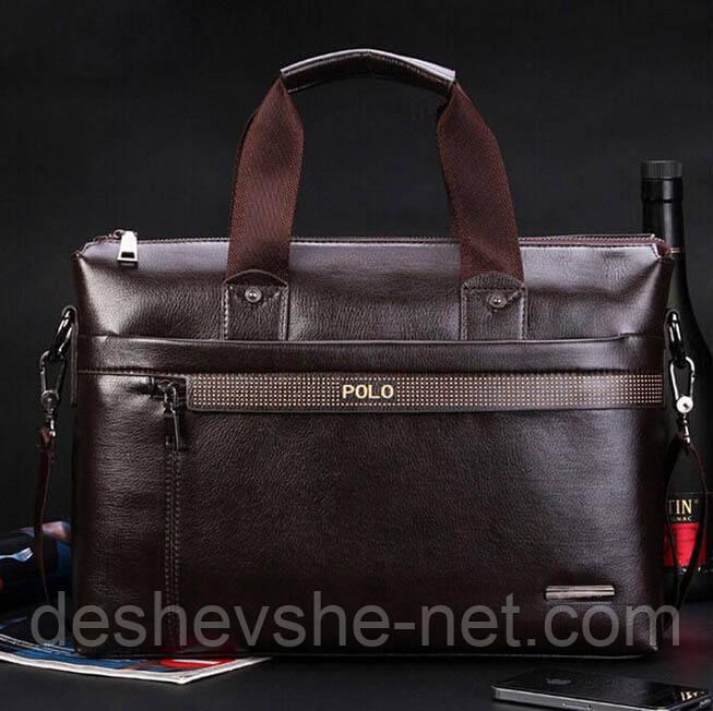 Мужская кожаная сумка Polo. Деловой портфель Polo А4. Бизнес сумка через  плече. Недорогой портфель A4 8dcea70afe2