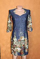 Нарядное платье с красивым принтом, размер 44