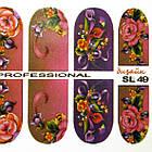 Наклейки цветы Розы для Ногтей Ноготки PhotonailArt Водные Разноцветные, Малая Пластина, Angevi SL 49, фото 4