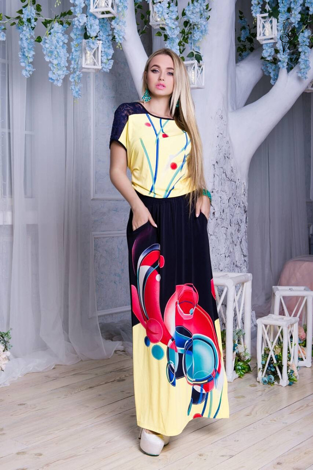 Цвет-11 Длинного ботального летнего платья Ирма