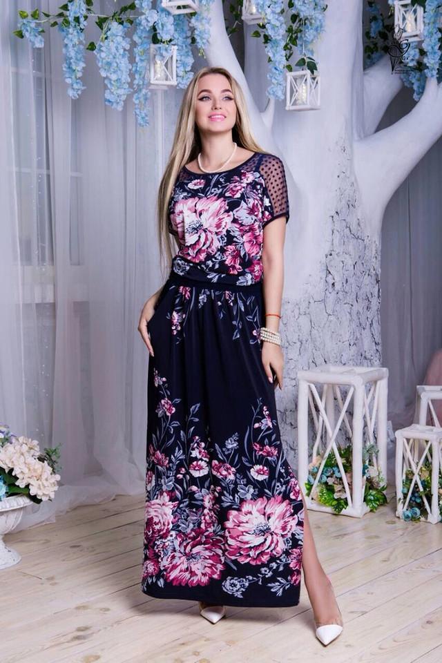 Цвет-12 Длинного ботального летнего платья Ирма