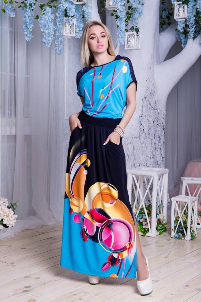 Цвет-15 Длинного ботального летнего платья Ирма