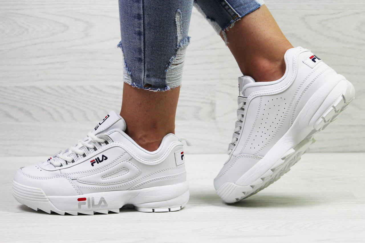 Женские,подростковые кроссовки Fila,белые