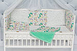 """Пледик для младенца с плюшем Minki в пупырышках """"Сказочный Единорог"""" мятного цвета, фото 2"""